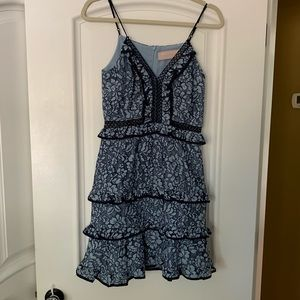 Keepsake Blue Lace and Ruffle Dress